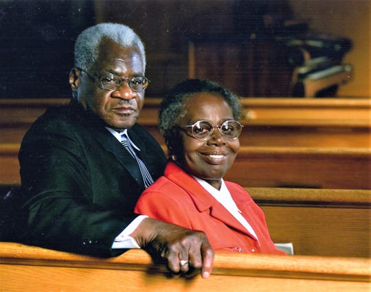 The  Rev. Cephus McGee and Verlene McGee in All Saints Home Church of God in Christ, where he was pastor for 51 years.