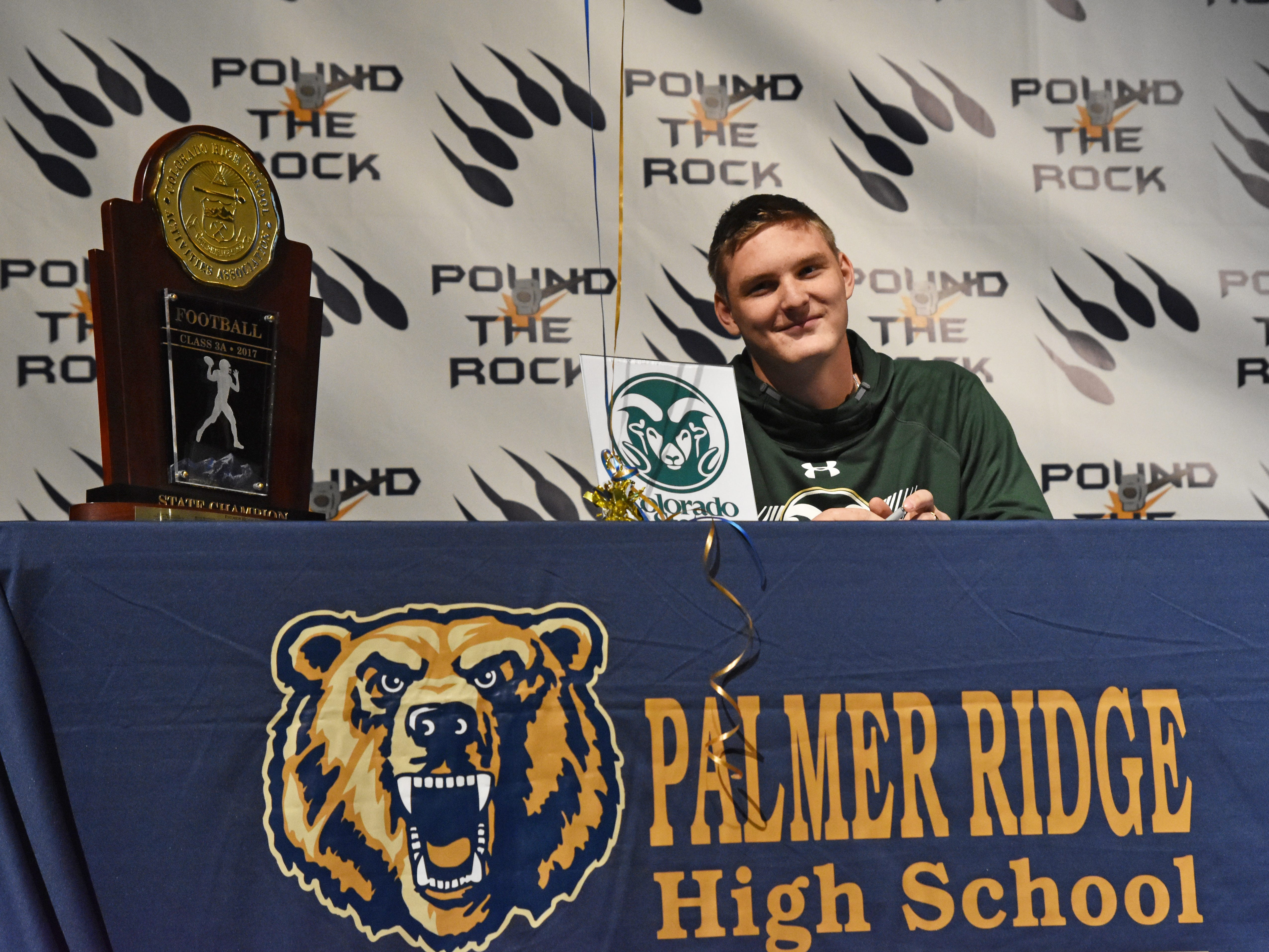 Palmer Ridge's Aidan Cullen at his signing ceremony on Dec. 19. The three-star defensive end signed with Colorado State.
