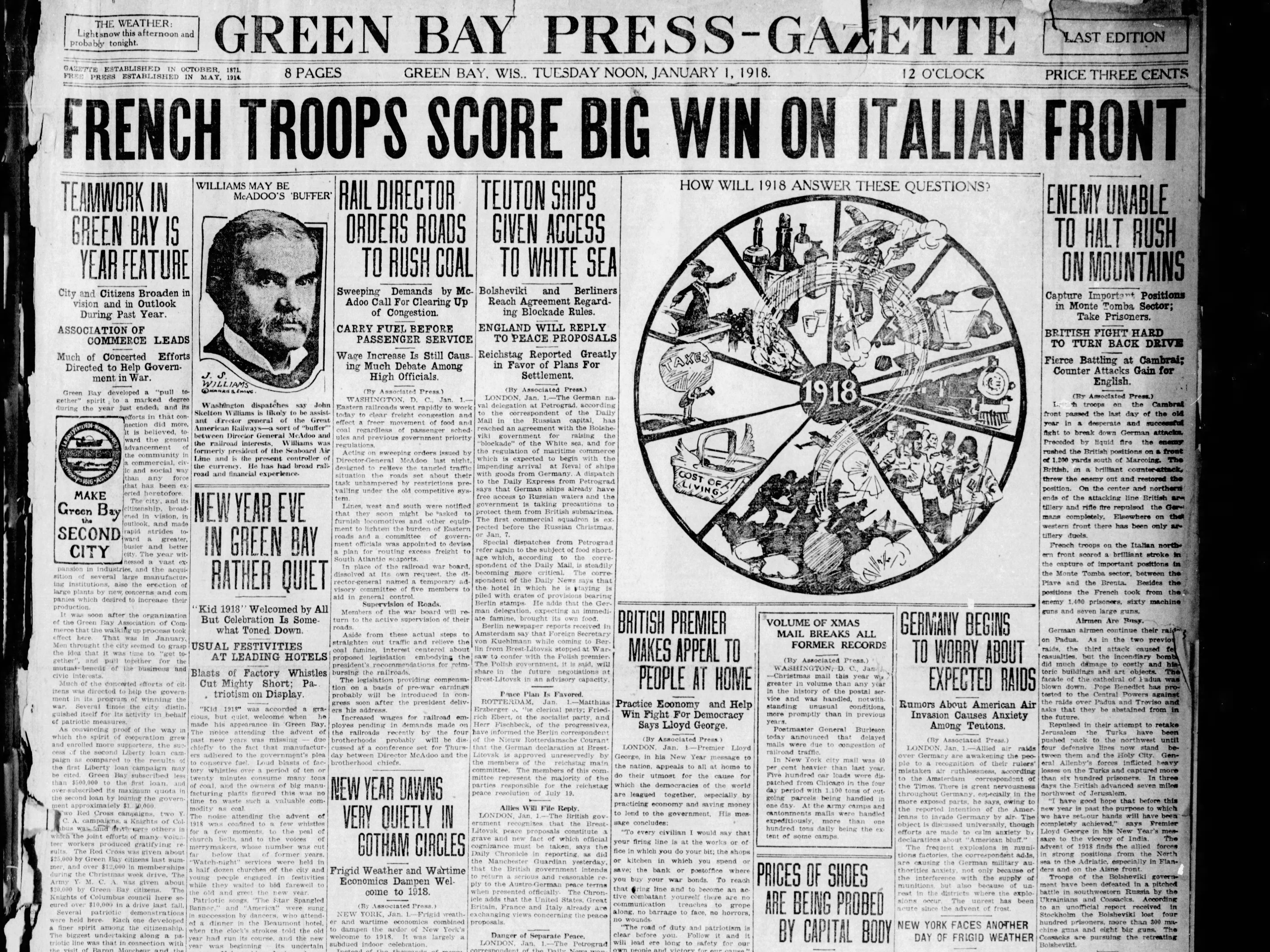 Today in History: Jan. 1, 1918