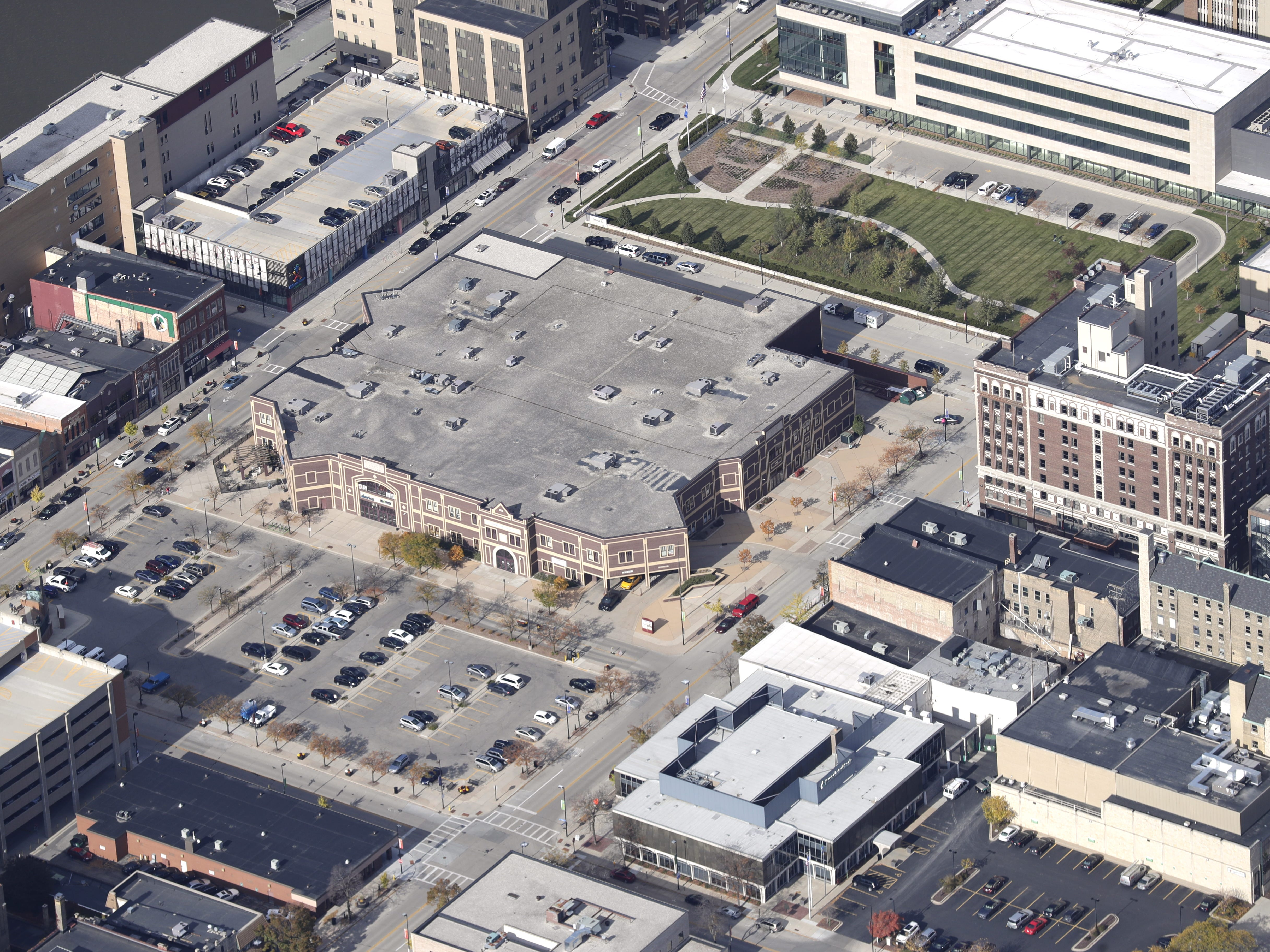 The BayLake Bank building and surrounding properties in downtown Green Bay