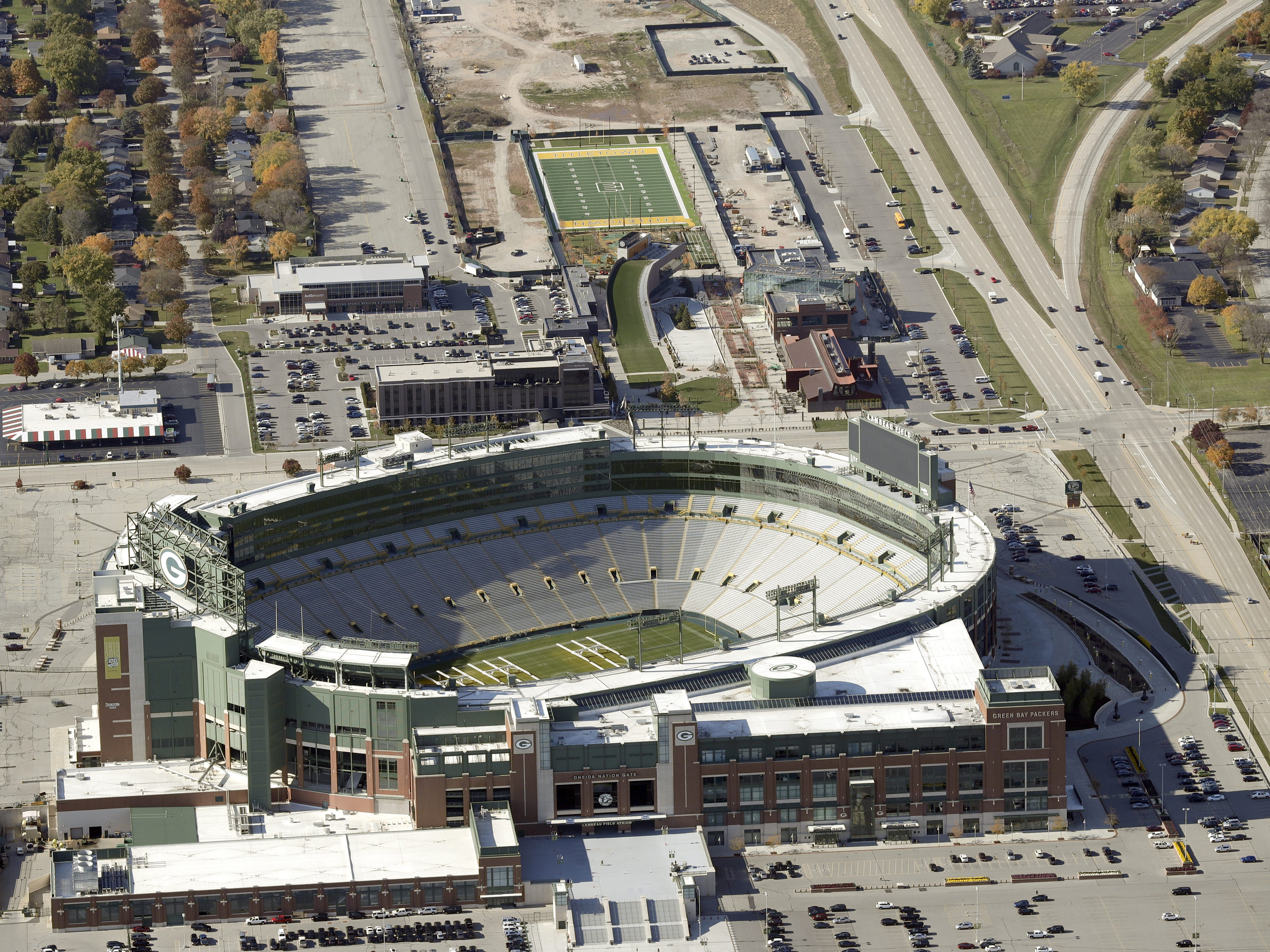 Lambeau Field and the Green Bay Packers' Titletown District development.