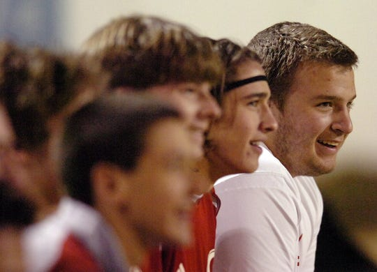 Benjamin Garrison Sprague (23), right, sits on Greenville's bench during a soccer match Tuesday, March 6, 2007 at Sirrine Stadium in downtown Greenville. Sprague was found dead Sunday, Dec. 9, 2007 in his Clemson University frat house, said Oconee County Coroner Karl Addis.