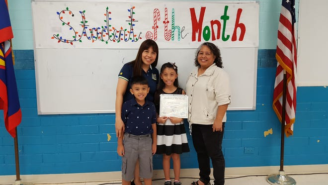Guahan Academy Charter School  November Student of the Month pictured December 13, 2018. From left (front row): John Tumamak. Back row: Josephine Tumamak; Sarah Joy Tumamak and Mary Mafnas, dean of elementary school, Guahan Academy Charter School