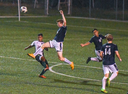 Harvest Christian Academy Eagles and the John F. Kennedy Islanders went header-to-header and toe-to-toe during their matchup for the IIAAG High School Boys Soccer championship at the Guam Football Association National Training Center on Wednesday, Dec 19, 2018. The Eagles score the first and only goal during the first half but the Islanders came back strong to score three goals in the second half, to capture the league championship with a final score of 3-1.