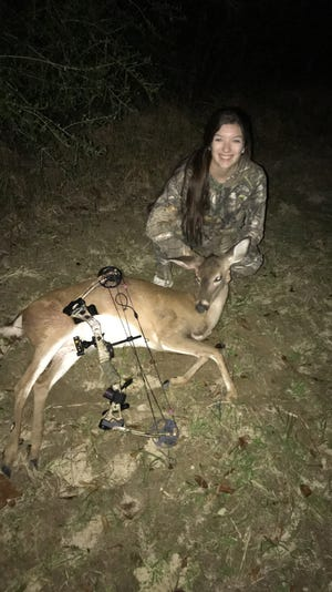 Ivy Thurston, 16, of Purvis, hunted with Garrett Jackson, not pictured, to tag her first deer while using a bow.