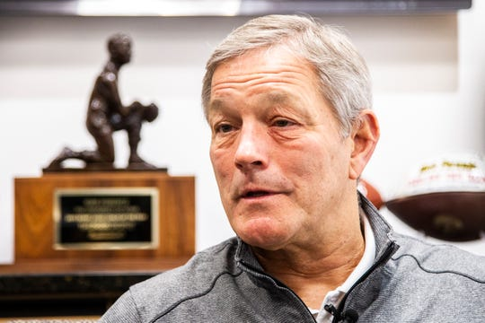 Kirk Ferentz, shown in this December photo, met with the media Tuesday in advance of his 21st session of spring football as Iowa's head coach.