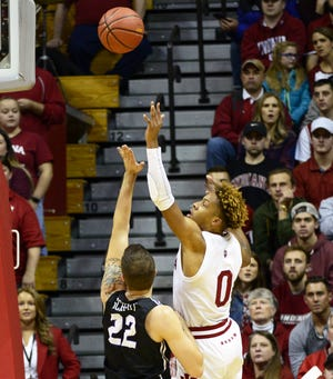 Indiana Hoosiers guard Romeo Langford (0) shoots the ball during the game against Central Arkansas at Simon Skjodt Assembly Hall in Bloomington, Ind., on Wednesday, Dec. 19, 2018.