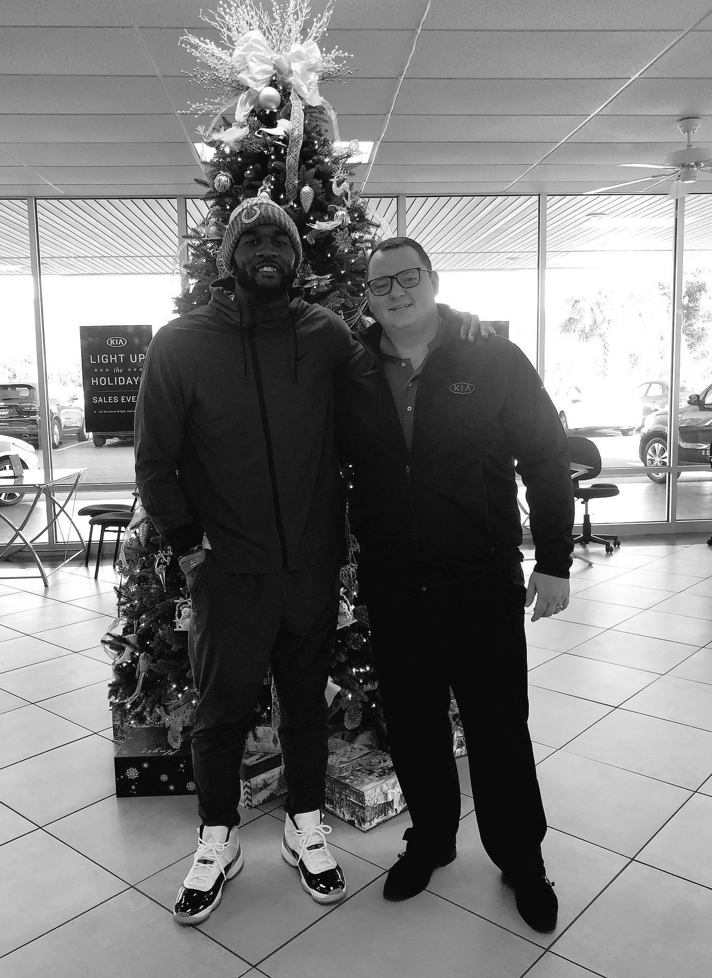Darius Leonard surprised Colts fan and Indiana native Travis Fox at a Kia dealership in South Carolina on Monday.