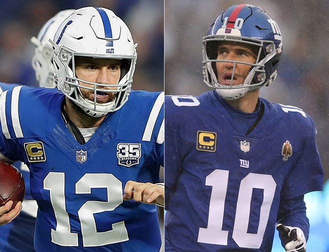 Andrew Luck of the Indianapolis Colts (left) and Eli Manning of the New York Giants.