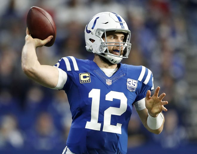 Indianapolis Colts quarterback Andrew Luck (12) in the first half of their game at Lucas Oil Stadium on Sunday, Dec. 16, 2018.