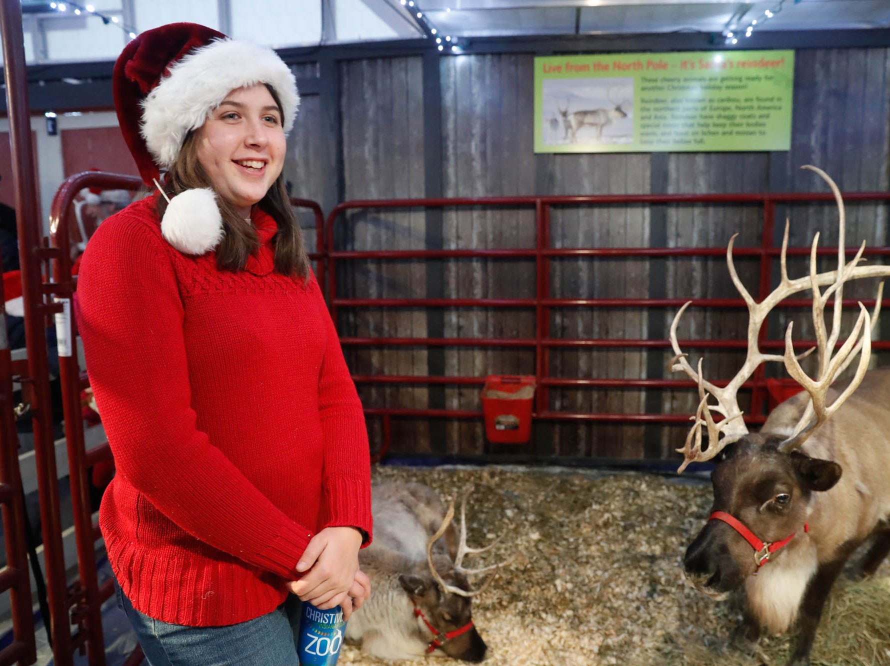 Kelly Zeiser introduces guests to reindeer during Christmas at the Indianapolis Zoo on Wednesday, Dec. 19, 2018.