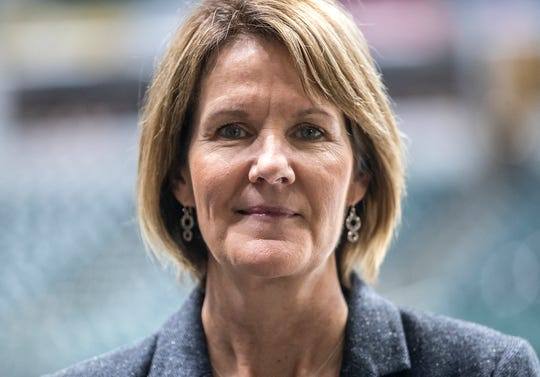 Kelly Krauskopf, assistant general manager of the Indiana Pacers, poses for a picture at Banker's Life Fieldhouse in Indianapolis, Thursday, Dec. 20, 2018. Krauskopf has served as the Indiana Fever top executive since the team's birth in 1999 and has more recently led Pacers Gaming. Krauskopf is the first woman to hold the position for the Pacers since Nancy Leonard, wife of former coach Bob Leonard.