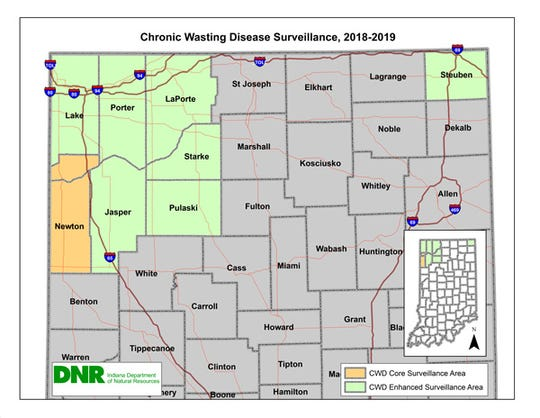 The Indiana Department of Natural Resources has identified several counties neighboring near where the deer has been detected in Michigan and Illinois for enhanced surveillance. In those areas, it is asking hunters to have their harvested deer tested for the disease.
