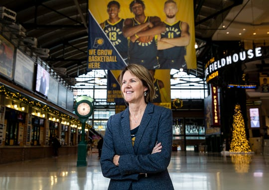 Kelly Krauskopf, assistant general manager of the Indiana Pacers, poses for a picture at Bankers Life Fieldhouse in Indianapolis.