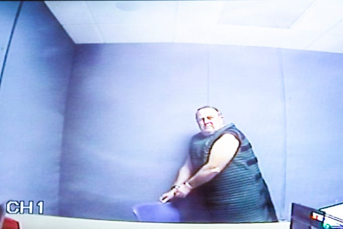 Jerry Lynn Burns is seen during his initial appearance on a video monitor from the Linn County Jail on Thursday, Dec. 20, 2018, at the Linn County Courthouse in Cedar Rapids.