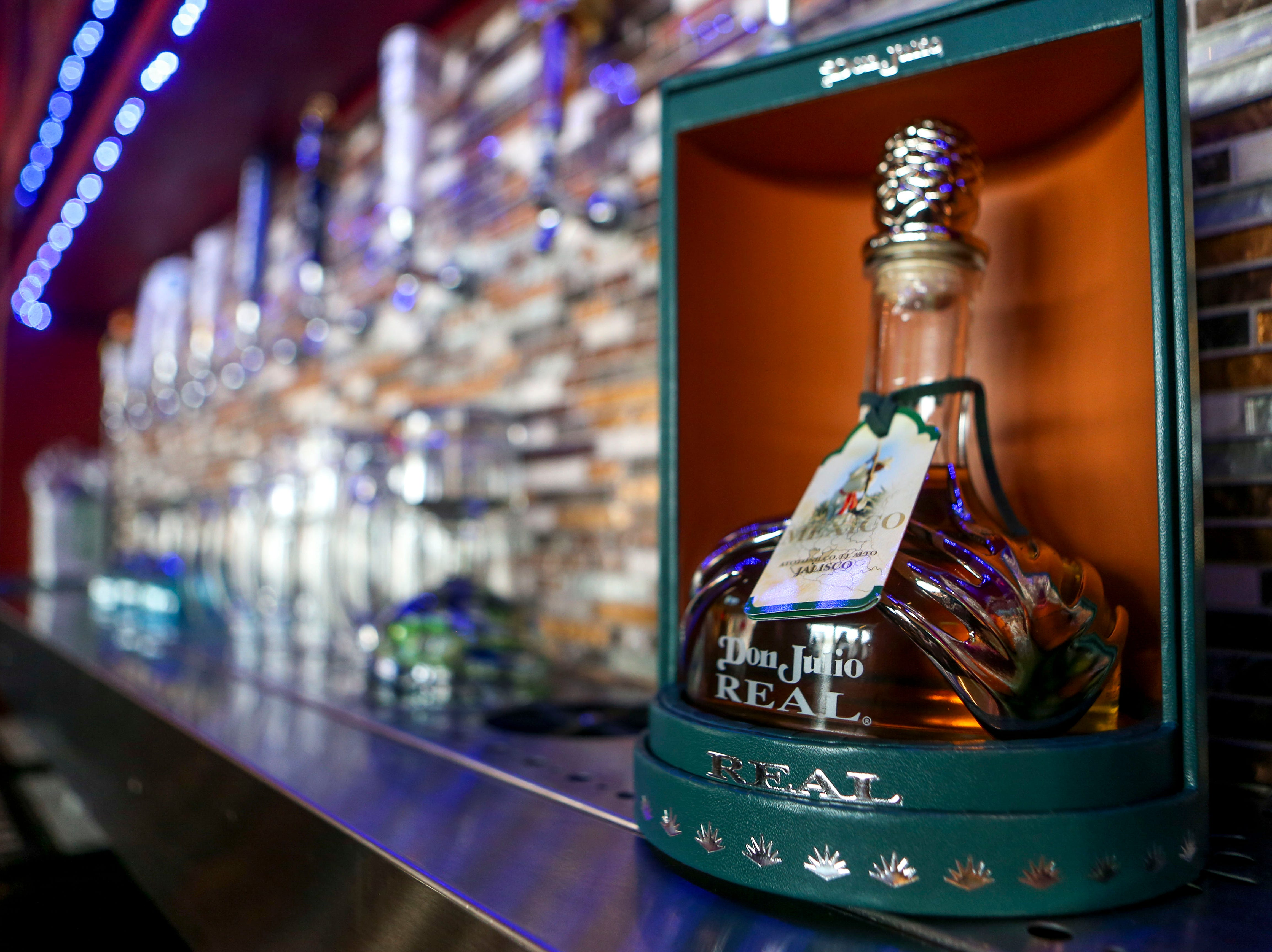 Special top shelf Don Julio tequila is presented behind the bar during the opening day at Te'Kila Mexican Bar & Grill in Jackson, Tenn., on Wednesday, Dec. 19, 2018.