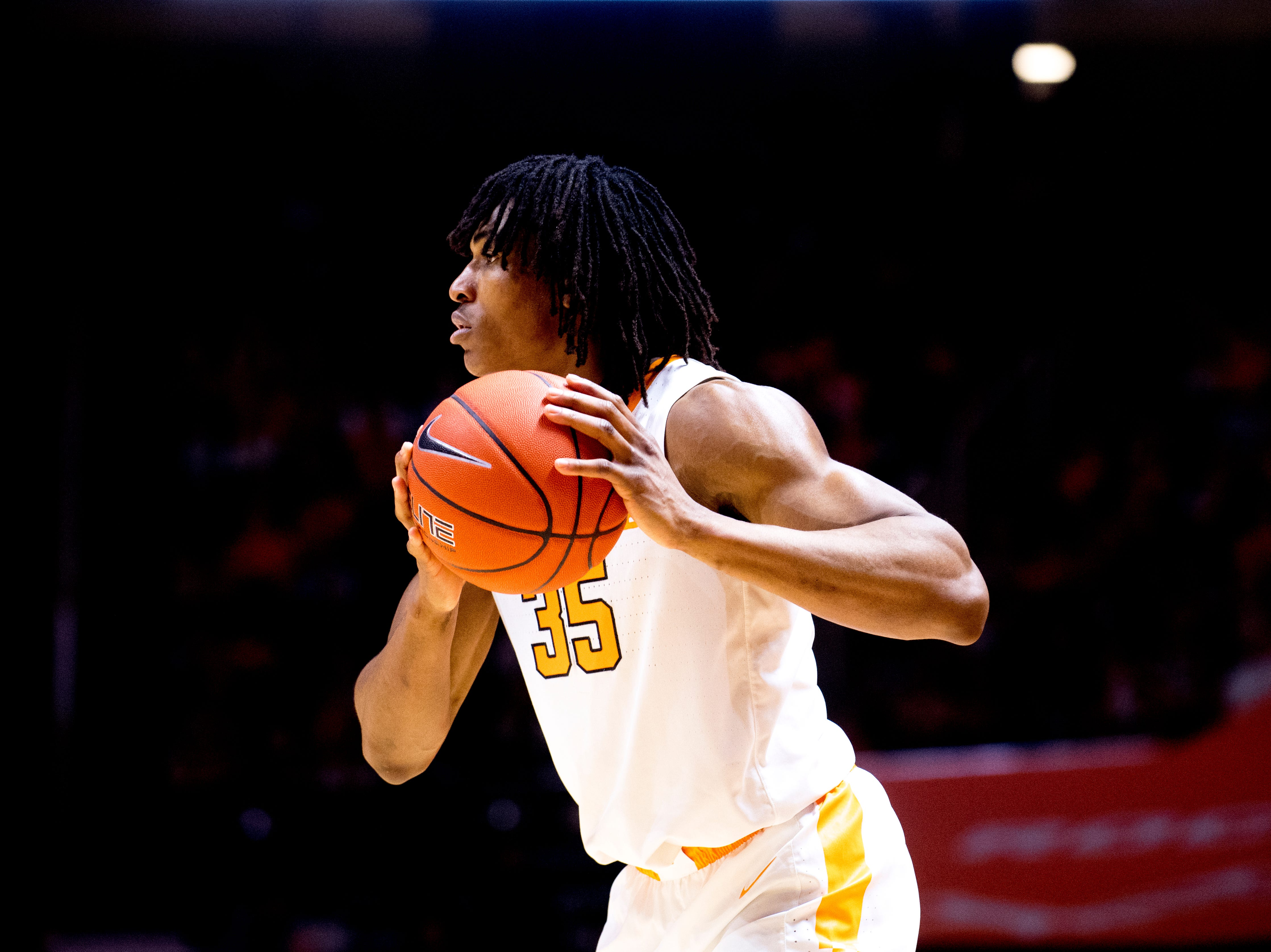 Tennessee guard/forward Yves Pons (35) looks to pass during a game between Tennessee and Samford at Thompson-Boling Arena in Knoxville, Tennessee on Wednesday, December 19, 2018.