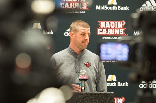 Cajuns football coach Billy Napier speaks at a news conference Wednesday about the early national signing period.