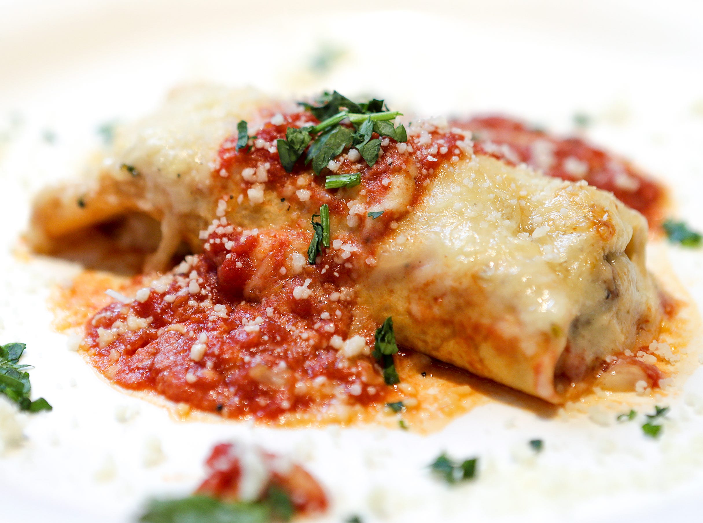 Crepe Agostino at Vincenzo'sDelicate crepe wrapped around a blend of beef and veal baked in a béchamel glazed marinara sauce.December 19, 2018