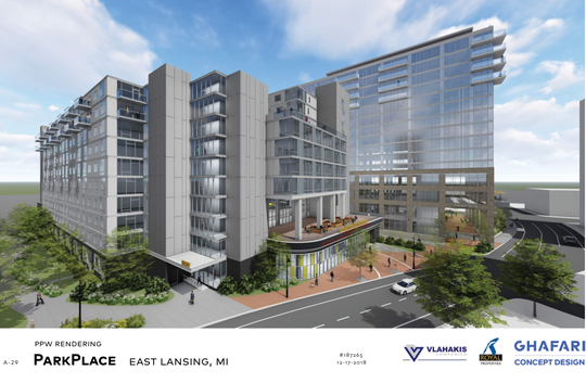 A rendering of a proposed building along Evergreen Avenue in East Lansing.