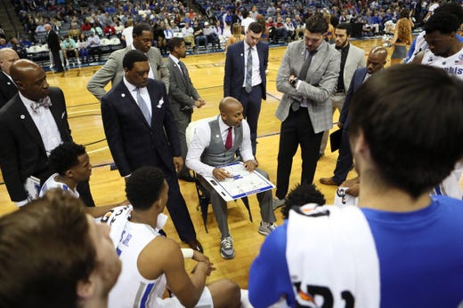 Memphis Tigers Head Coach Anfernee Hardaway talks to his team during a timeout in their game against the Arkansas-Little Rock Trojans at the FedExForum on Wednesday, Dec. 19, 2018.