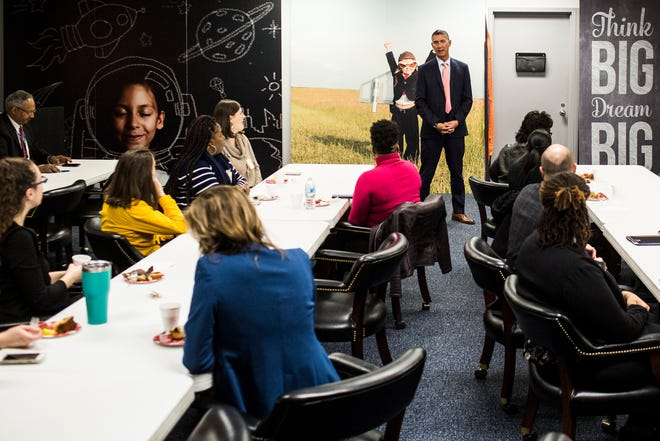 December 20 2018 - Mike Jung, president of The Commercial Appeal, welcomes Gannett Foundation grant recipients Thursday morning at The Commercial Appeal.