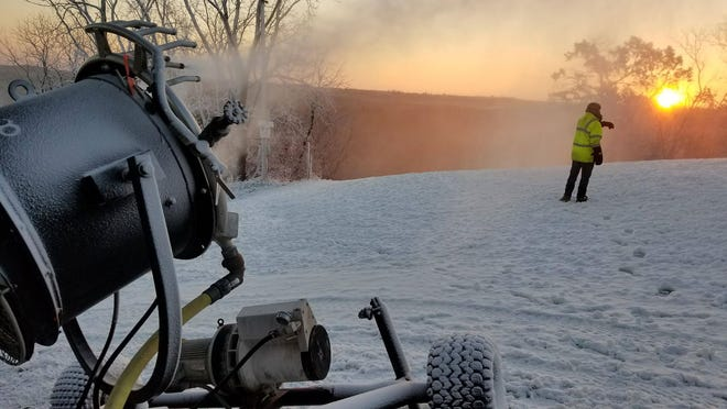 Snow guns blanket Tyrol Basin in manmade white stuff to get an early start on the skiing season.
