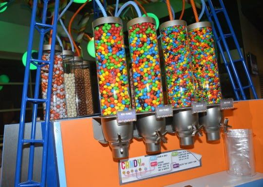 The Candy Lab at Fiserv Forum features treats that can be purchased in small bags.