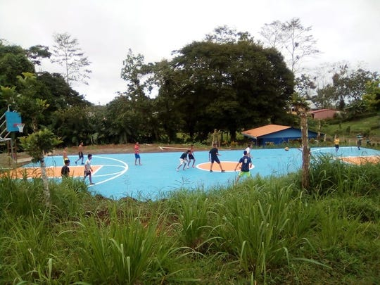 The basketball court in Costa Rica that was constructed by 16 Marquette University student-athletes.