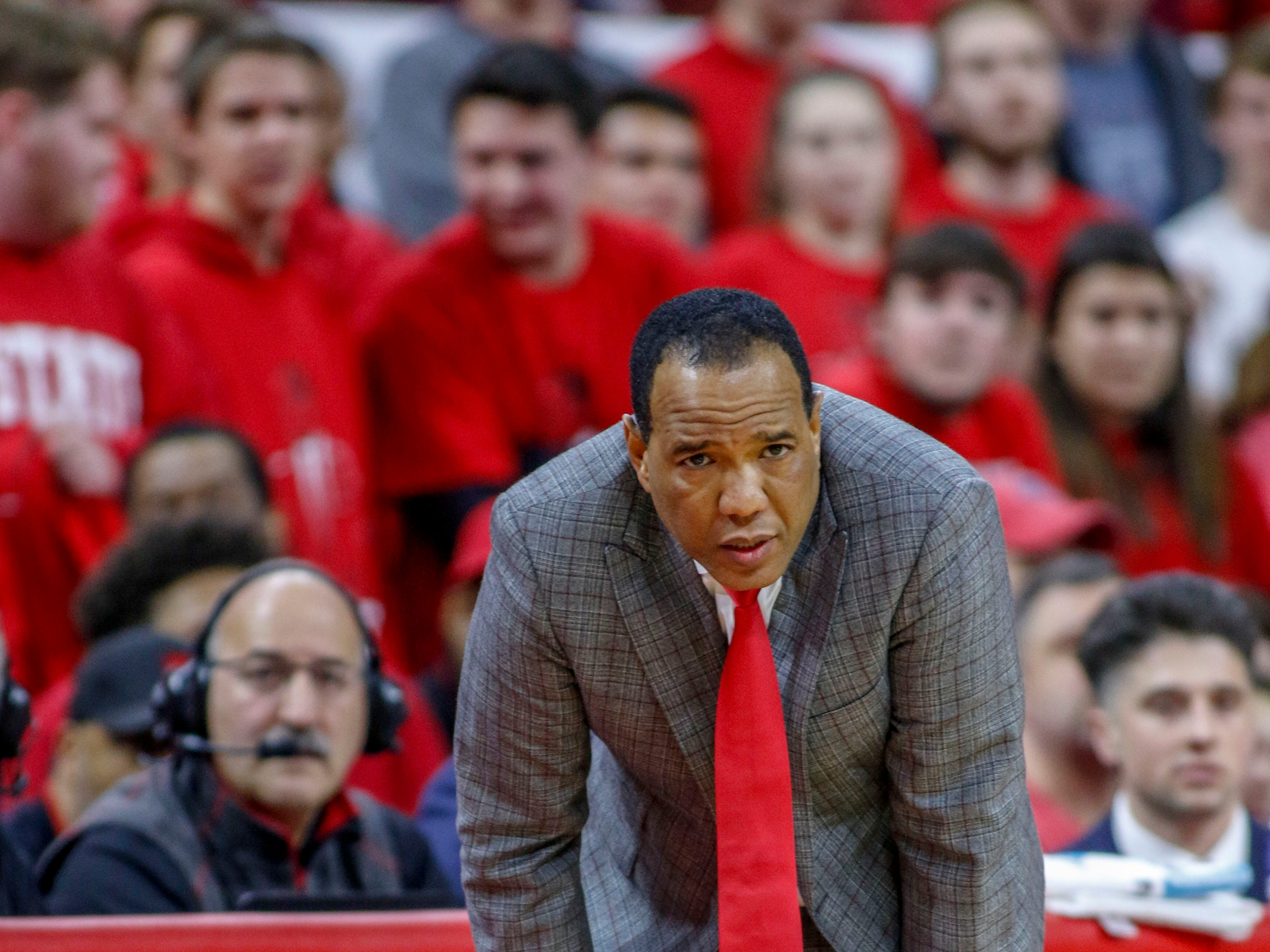 Dec 19, 2018; Raleigh, NC, USA; North Carolina State Wolfpack head coach Kevin Keatts watches his team as they play the Auburn Tigers in the second half at PNC Arena. The North Carolina State Wolfpack won 78-71. Mandatory Credit: Nell Redmond-USA TODAY Sports