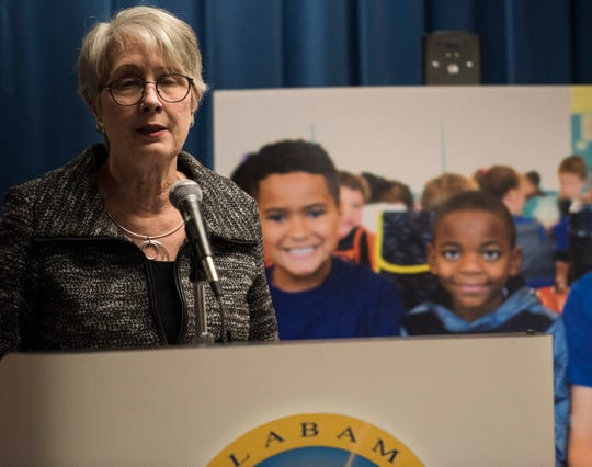 Montgomery Education Foundation director Ann Sikes announces the charter application at the Alabama State Department of Education in Montgomery, Ala., on Thursday, Dec. 20, 2018.