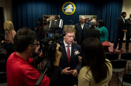 State Superintendent Eric Mackey is interviewed after announcing the Montgomery Education Foundation's charter application at the Alabama State Department of Education in Montgomery, Ala., on Thursday, Dec. 20, 2018.