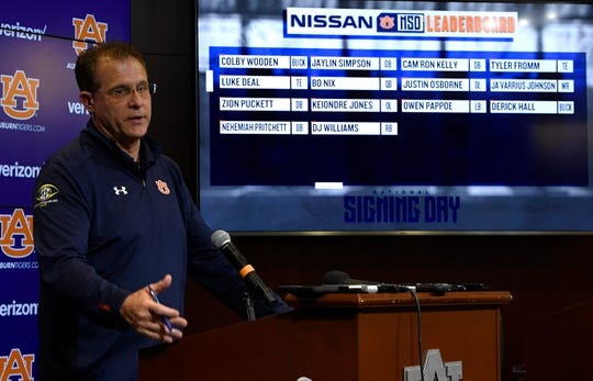 Auburn coach Gus Malzahn speaks to reporters during the early signing period on Wednesday, Dec. 19, 2018 in Auburn, Ala.