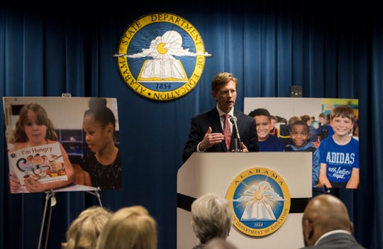 State Superintendent Eric Mackey announces the Montgomery Education Foundation's charter application at the Alabama State Department of Education in Montgomery, Ala., on Thursday, Dec. 20, 2018.