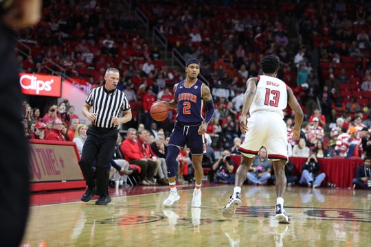 Auburn guard Bryce Brown takes the ball up the court against NC State on Dec. 19, 2018, in Raleigh, NC.