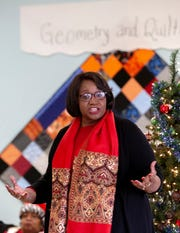 Claudia Mitchell, MPS board Vice Chairman and avid quilter, helped the gifted class at Brewbaker Intermediate build quilts for the students' grandmothers.