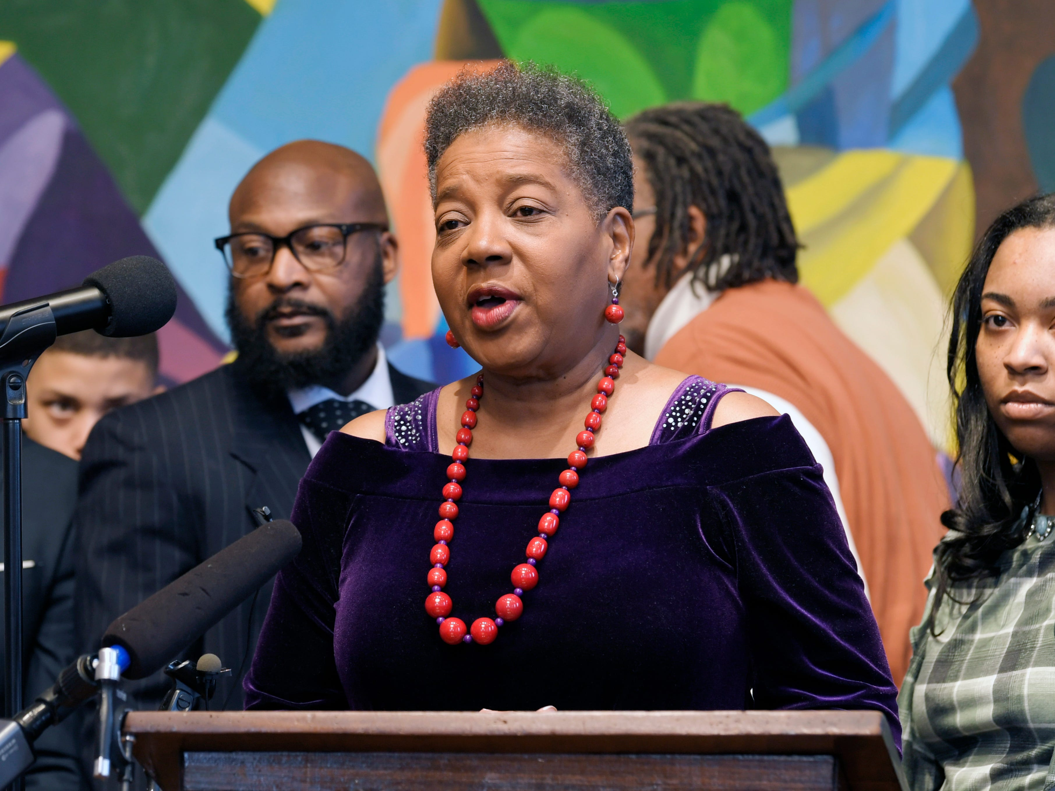 Sen. Brenda Gilmore, D-Nashville and members of the Interdenominational Ministers Fellowship hold a press conference on National Clergy Day of Action for Cyntoia Brown asking Governor Haslam to grant clemency on Tuesday, Dec 20, 2018 at Nashville's American Baptist College.