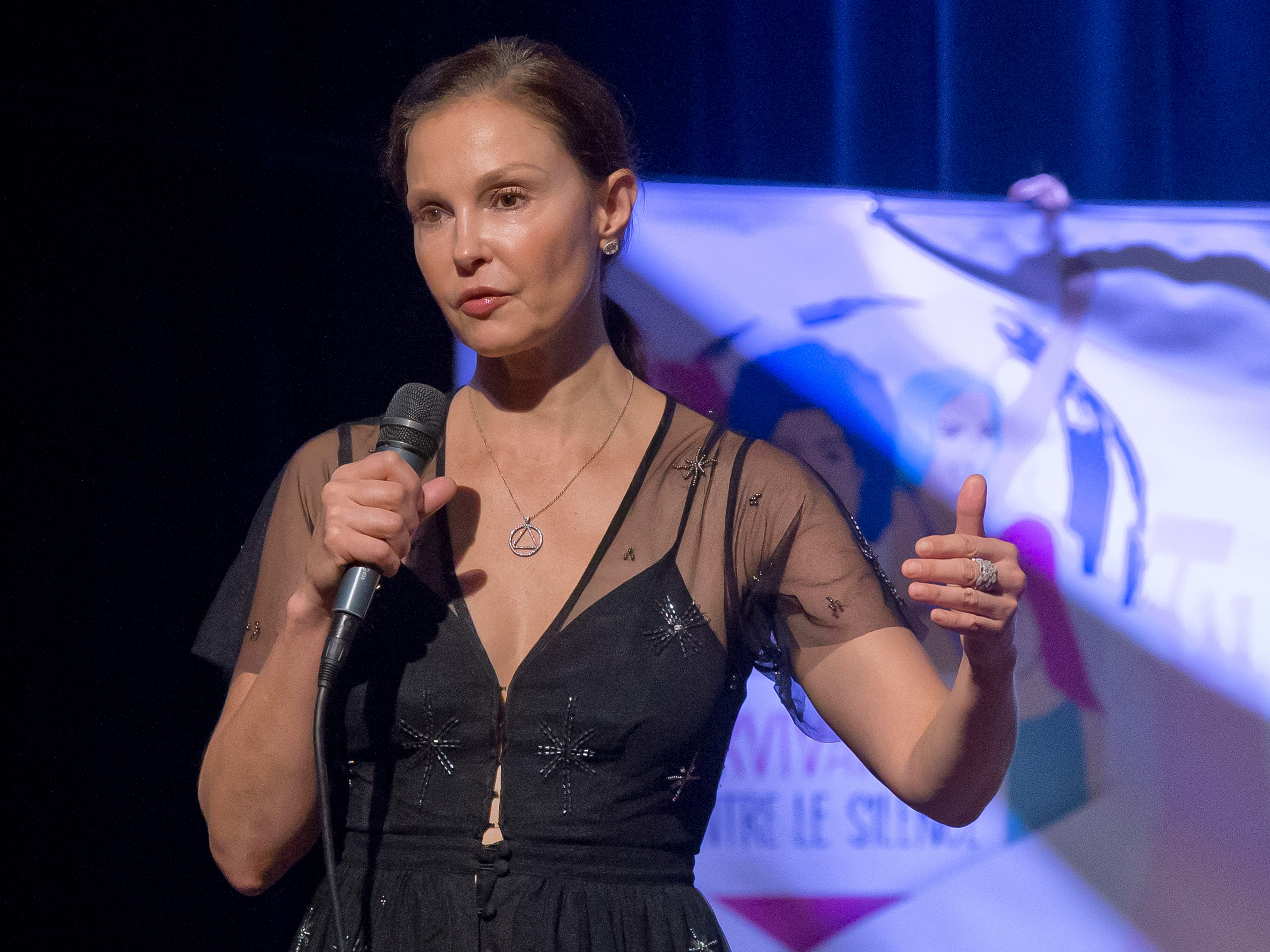 Civility: American actress Ashley Judd gestures as she speaks during a conference about the violence of prostitution in Paris, France, Friday, Nov. 23, 2018.