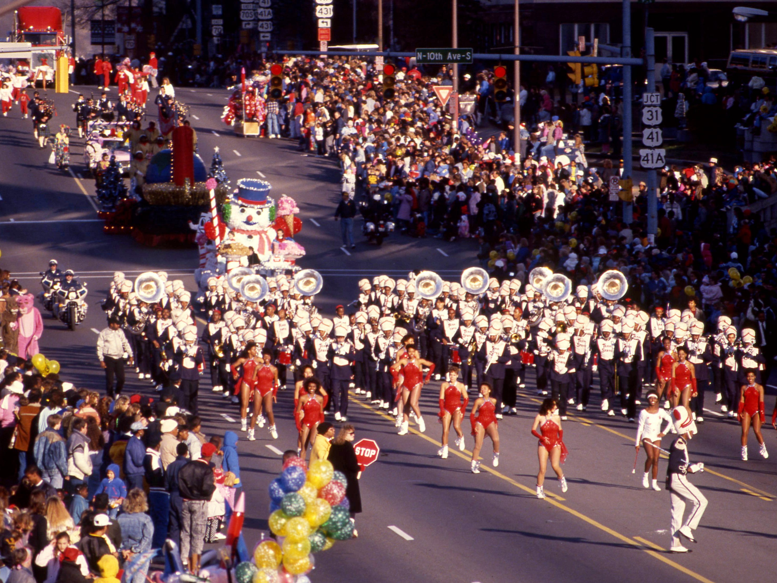 The Tennessee State University Aristocrat of Bands is another crowd favorite for its jazzy renditions of traditional Christmas carols during the annual Christmas parade Dec. 4, 1988.