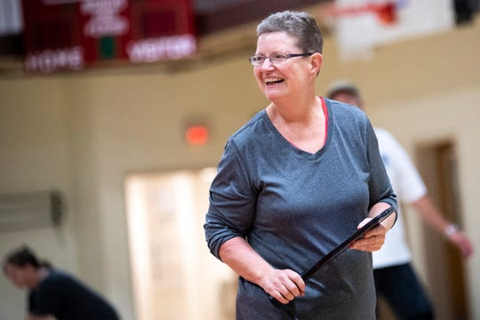 Julie Nidiffer laughs during a game of pickleball at the Gordon Jewish Community Center in Nashville, Tenn., Wednesday, Dec. 19, 2018.