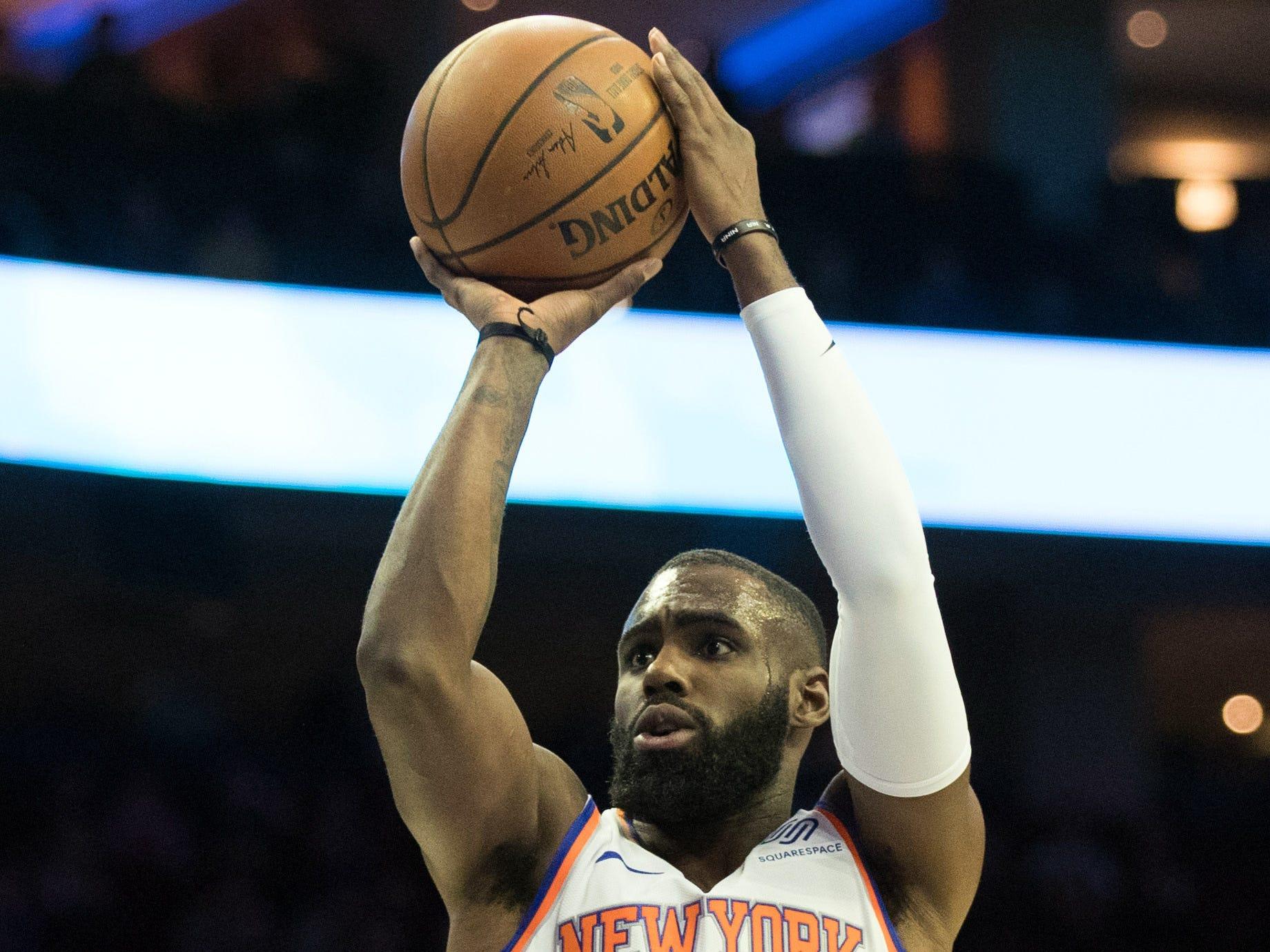 Dec 19, 2018; Philadelphia, PA, USA; New York Knicks guard Tim Hardaway Jr. (3) shoots against the Philadelphia 76ers during the first quarter at Wells Fargo Center.