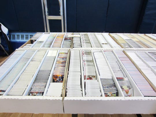 Sports cards for sale at the Cards & Collectibles Show at the Garfield Boys & Girls Club.