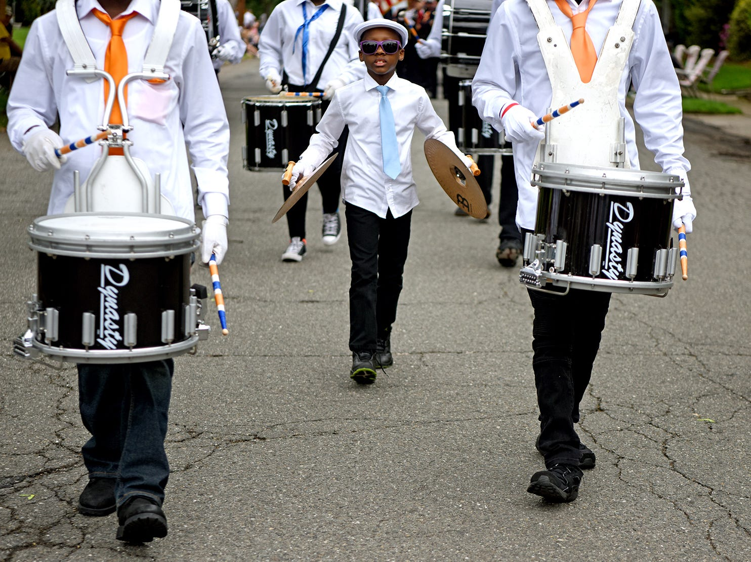 The Hawthorne Memorial Parade on Monday, May 28, 2018. A drum line from Eastside High School in Paterson performs in the parade.