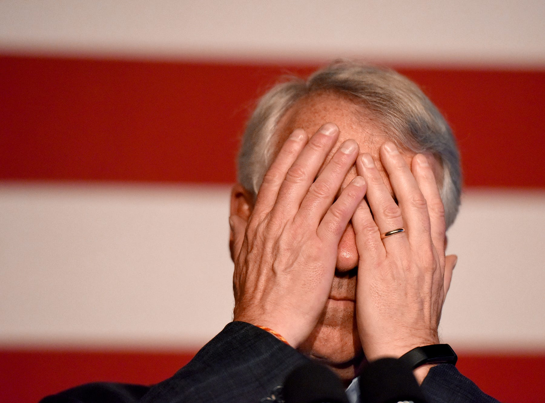 NJ U.S. Senate candidate Republican Bob Hugin lost his bid to beat incumbent Senator Bob Menendez during midterm elections on Tuesday, November, 6, 2018. Hugin covers his eyes while giving a concession speech to his supporters at the Stage House Tavern in Mountainside on Tuesday night.