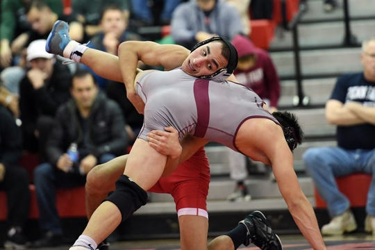 Don Bosco wrestling at Westwood on Wednesday, December 19, 2018. WW Trent Furman on his way to defeating DB Nick Franco in their 138 pound match.