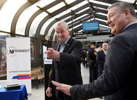 Gov. Phil Murphy arrives at the Summit Train Station and greets guests including Assemblyman Daniel Benson (D), chair of the Transportation and Independent Authorities committee. Gov. Murphy signed legislation to reform NJ Transit's governance and management to improve service and reliability for NJ commuters at the Summit Train Station on Thursday, December 20, 2018.