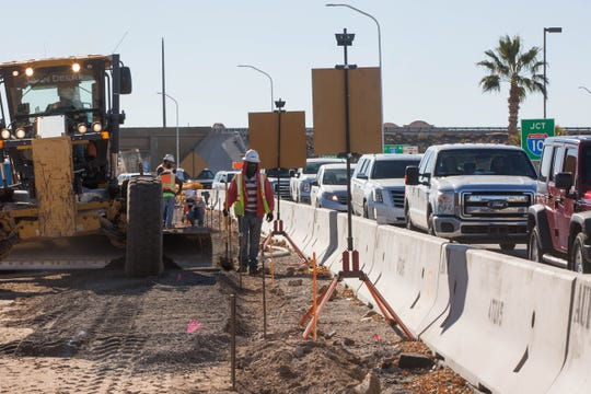 Road construction on Avenida de Mesilla from Hickory Drive to the Interstate 10 on-ramp on Dec. 20, 2018. This is Phase 3 of the construction project.