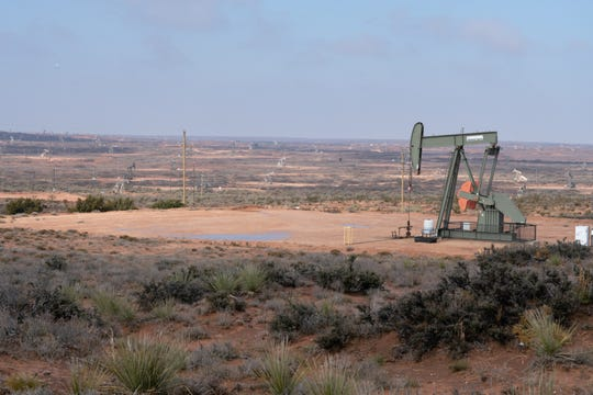 Pump jacks between Lovington and Artesia New Mexico. The September 2018 sale of nearly $1 billion in federal leases has set off one of the greatest oil booms in American history.