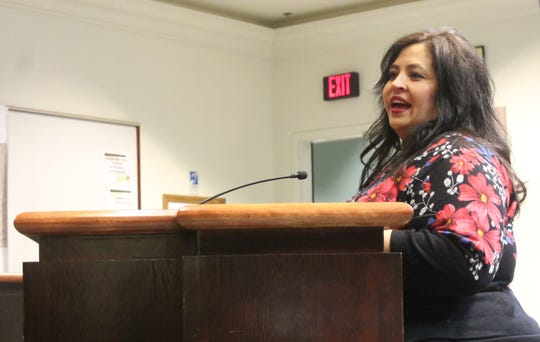 OCEDC Interim Executive Director Laurie Anderson speaks at the Alamogordo City Commission meeting on Dec. 18.