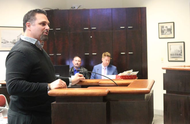 Medlin Ramps CEO Mark Medlin speaks to Alamogordo city commissioners on Dec. 18 about plans to bring the ramp manufacturer to Alamogordo.